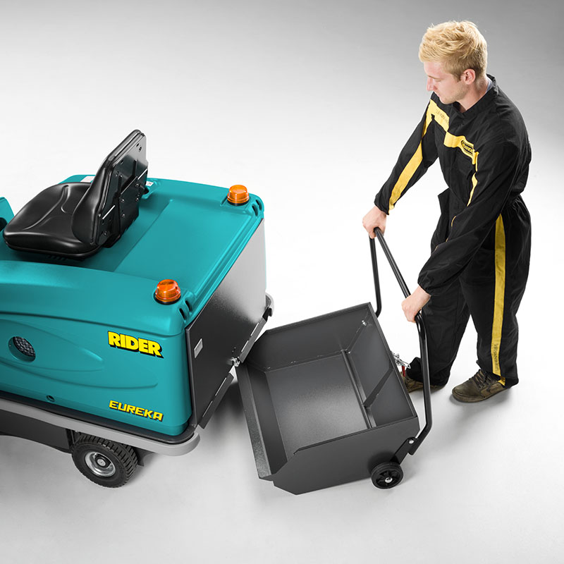 85 liters DEBRIS CONTAINER THE RIDER 1201 RIDE-ON SWEEPER