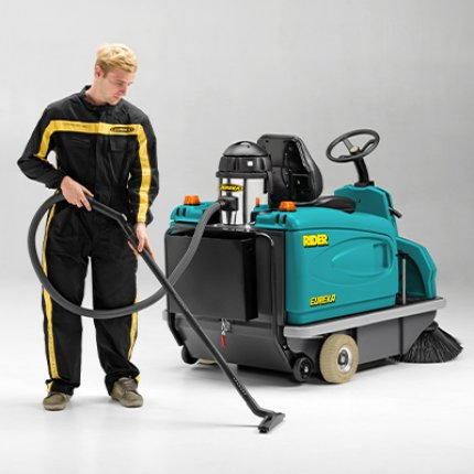 Sweepers with an on-board vacuum cleaner, for quick and convenient cleaning of hard to reach places.